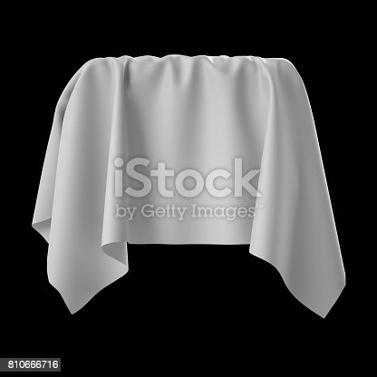 istock 3d render, digital illustration, abstract white cloth, flying fabric,dynamic textile object isolated on black background 810666716
