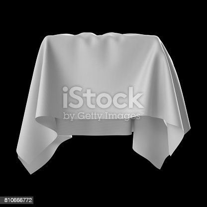 istock 3d render, digital illustration, abstract white cloth, flying fabric,dynamic textile object isolated on black background 810666772