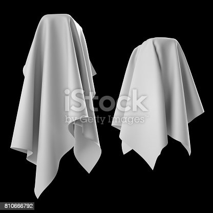 istock 3d render, digital illustration, abstract white cloth, flying fabric,dynamic textile object isolated on black background 810666792