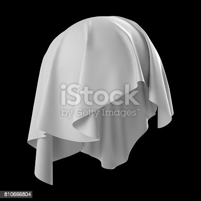 istock 3d render, digital illustration, abstract white cloth, flying fabric,dynamic textile object isolated on black background 810666804