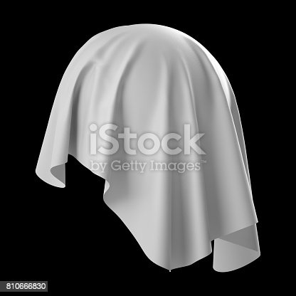 istock 3d render, digital illustration, abstract white cloth, flying fabric,dynamic textile object isolated on black background 810666830