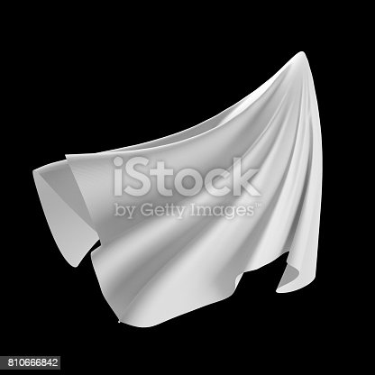 istock 3d render, digital illustration, abstract white cloth, flying fabric,dynamic textile object isolated on black background 810666842