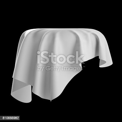 istock 3d render, digital illustration, abstract white cloth, flying fabric,dynamic textile object isolated on black background 810666982