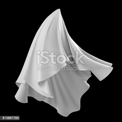 istock 3d render, digital illustration, abstract white cloth, flying fabric,dynamic textile object isolated on black background 810667250