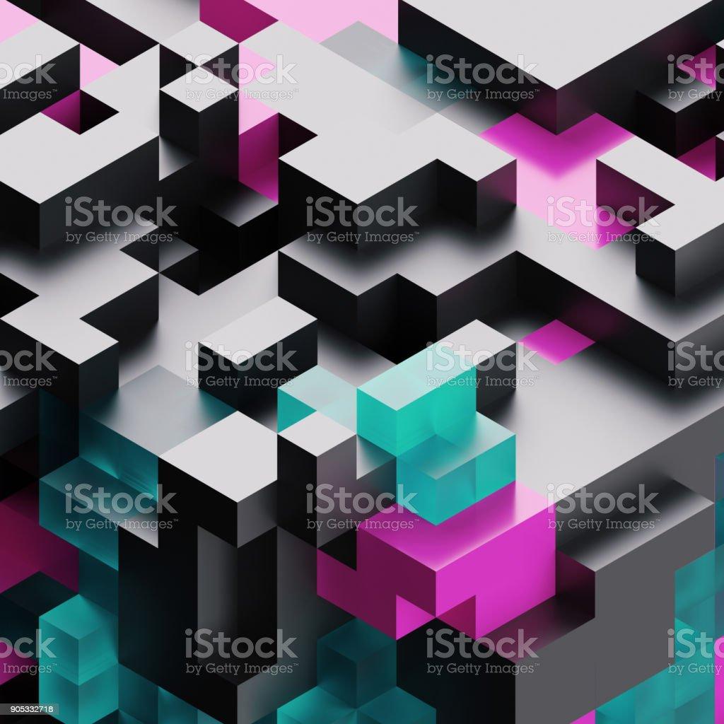 3d render, digital illustration,  black glass abstract background, voxel pattern stock photo
