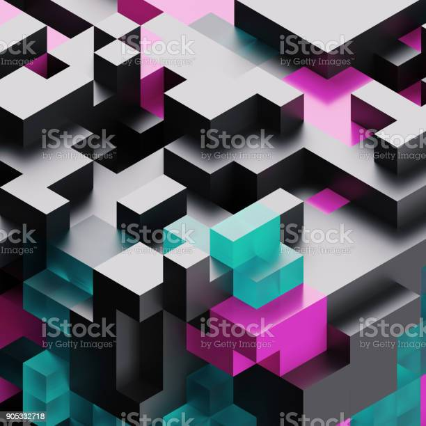 3d render, digital illustration,  black glass abstract background, voxel pattern