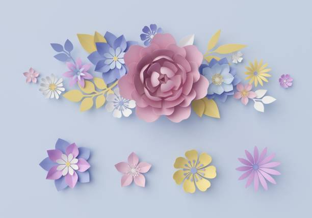 3d Render Digital Illustration Blue Floral Background Pastel Paper Flowers Holiday Wall Origami