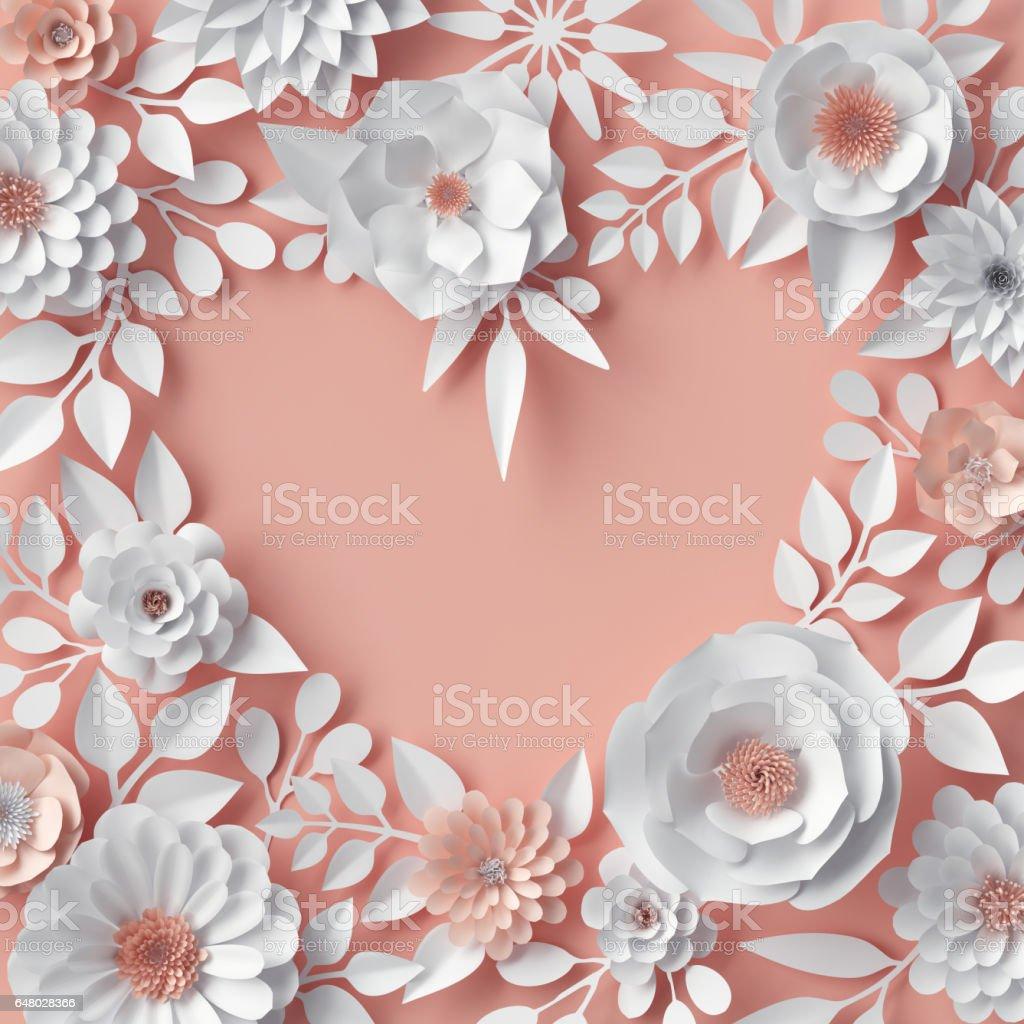 Rendu 3d Illustration Numerique Blush Fleurs Rose Orange Papier Fond