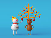 3d render, digital illustration, cartoon characters, snowman decorating deer horns, funny Christmas tree, isolated on blue background, holiday greeting card
