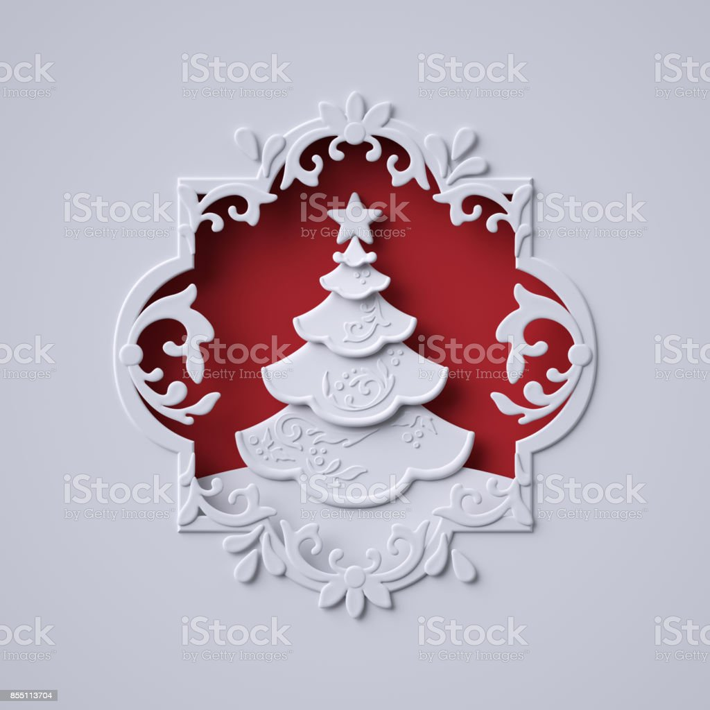 3d render, digital illustration, Christmas tree inside ornate frame, winter holiday greeting card template, decorated fir, abstract white paper craft stock photo