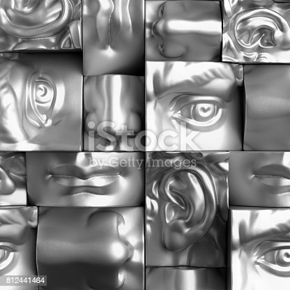 istock 3d render, digital illustration, classic art objects, face details, mosaic, abstract blocks, eyes, ear, nose, lips, mouth, anatomy sculptural elements, David sculpture parts 812441464