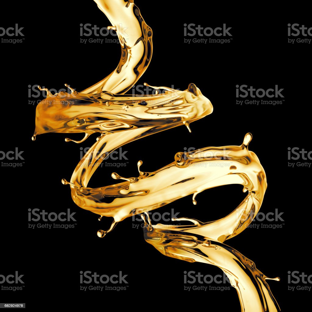 3d render, digital illustration, clear yellow spiral jet, lemonade, tea, oil splash, alcohol liquid wave, splashing loops, curvy line, isolated on black background stock photo