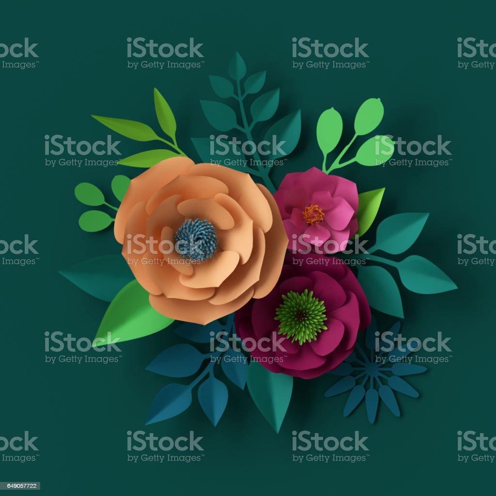 3D Render, digitale Illustration, bunte Papier Blumen Tapete, Frühling-Sommer-Hintergrund – Foto