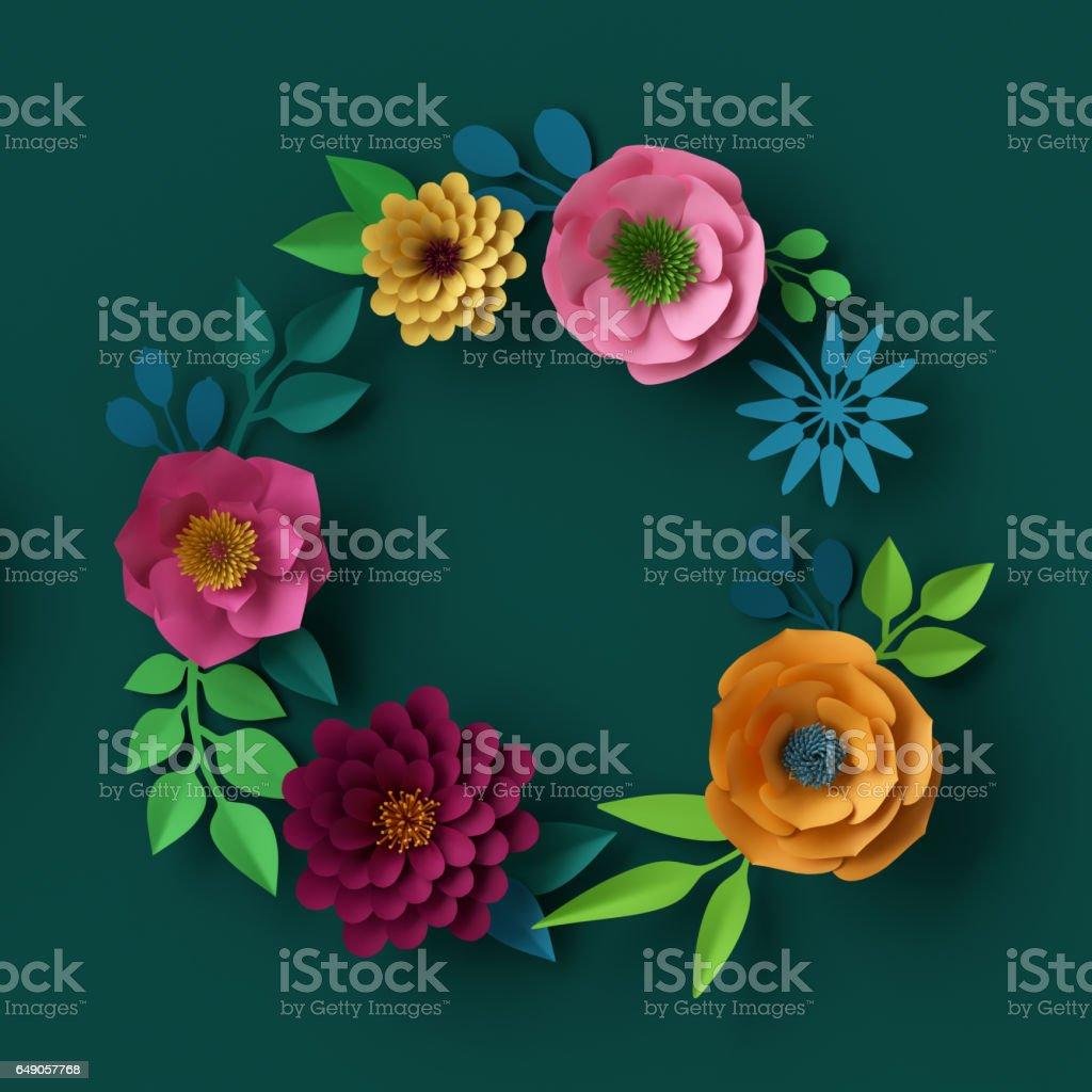 3d Render Digital Illustration Colorful Paper Flowers Wallpaper Summer Background Round Wreath