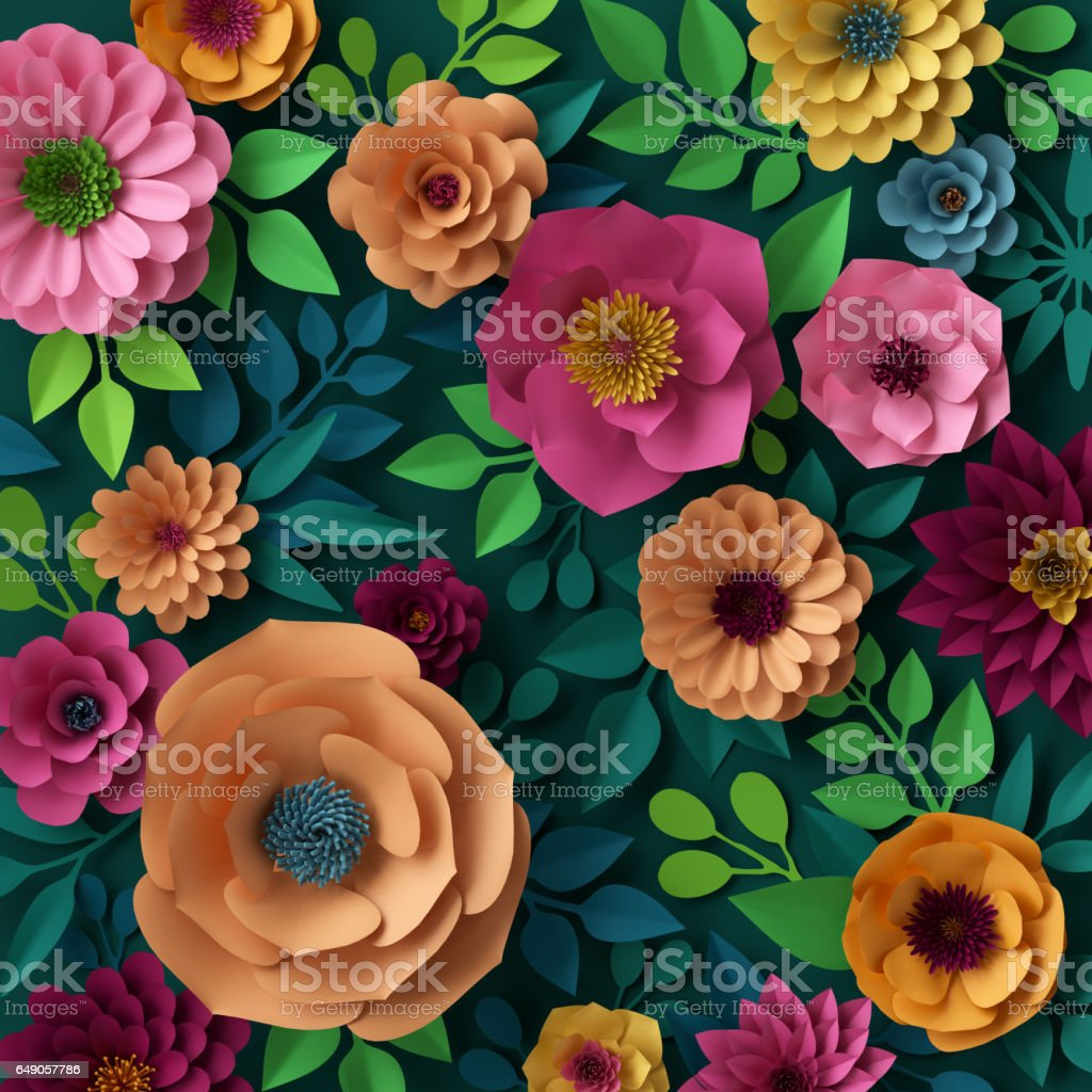 3d render, digital illustration, colorful paper flowers wallpaper, spring summer background stock photo