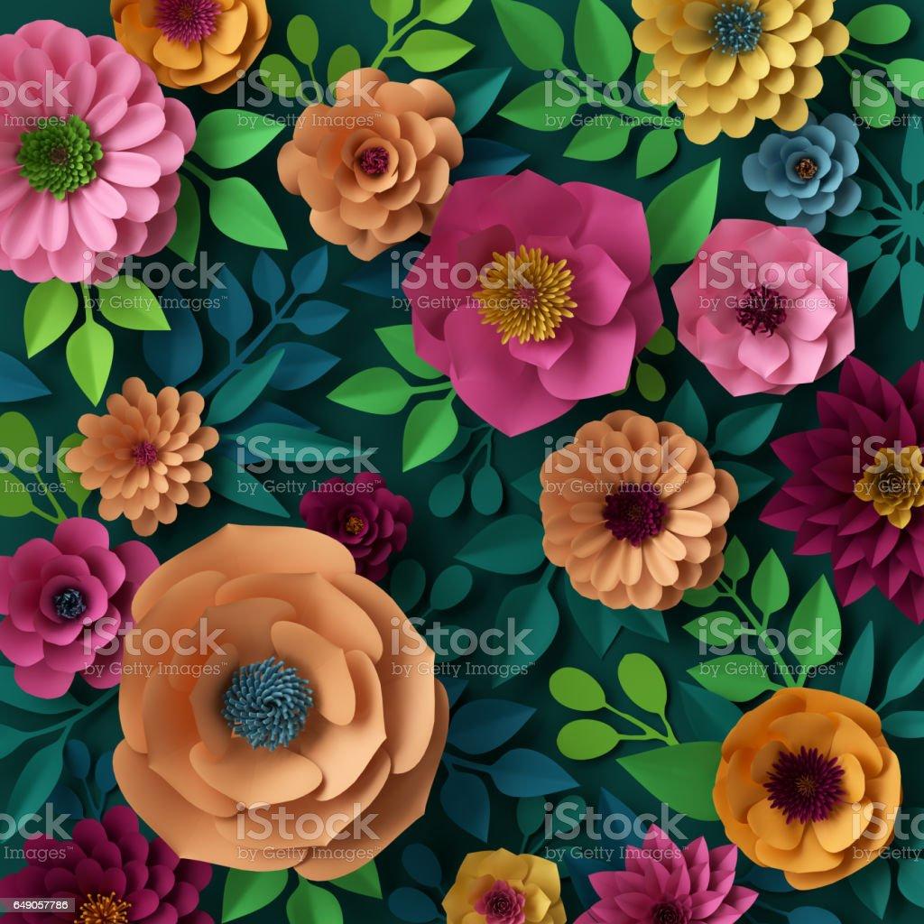 3D render, digitale afbeelding, kleurrijke papieren bloemen behang, lente zomer achtergrond foto