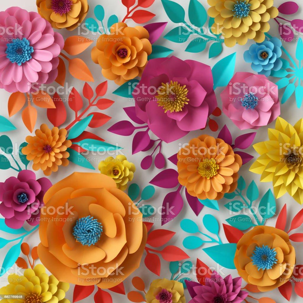 3d render digital illustration colorful paper flowers wallpaper 3d render digital illustration colorful paper flowers wallpaper spring summer background floral voltagebd Images