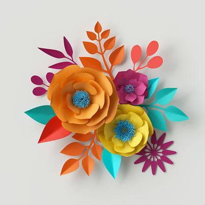 istock 3d render, digital illustration, colorful paper flowers wallpaper, spring summer background, floral bouquet isolated on white, vibrant colors, mint pink orange yellow 682770186
