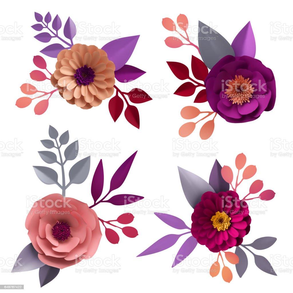 3d Render Digital Illustration Decorative Paper Flowers Craft
