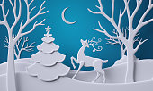 3d render, digital illustration, flat paper craft layers, reindeer in winter forest, fir tree, stag, Christmas greeting card, white trees, silent night, blue background