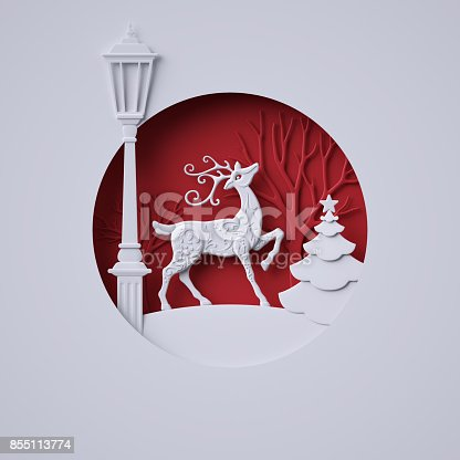 istock 3d render, digital illustration, flat white paper craft, reindeer, lantern, fir tree, layers, stag, Christmas greeting card, white tree, round decoration, red background 855113774