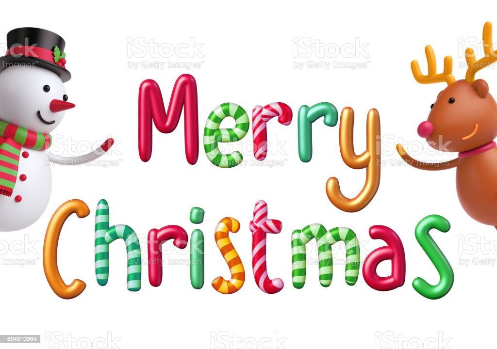 3d Render Digital Illustration Merry Christmas Greeting Card Festive ...