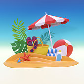 3d render, digital illustration, paper craft, summer holiday, beach picnic, tropical spa resort, vacation background
