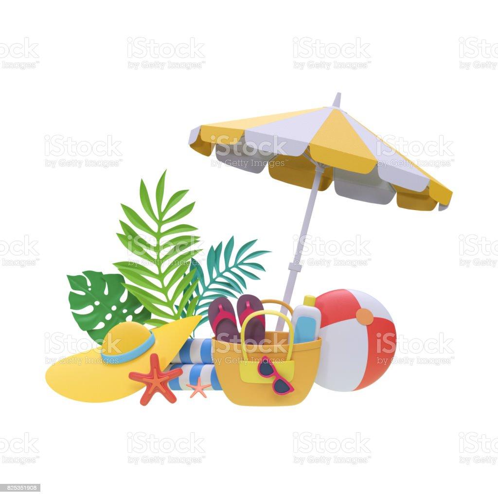 3d Render Digital Illustration Paper Craft Summer Holiday Beach Picnic Tropical Spa Resort