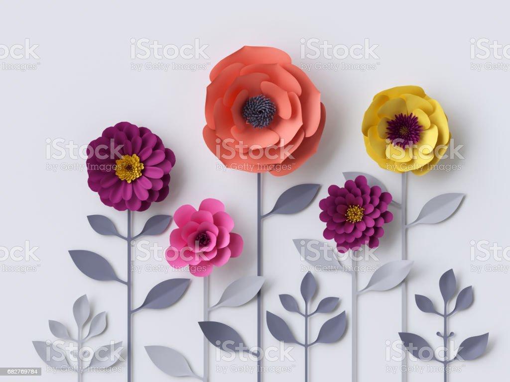 3d Render Digital Illustration Pink Purple Red Yellow Paper Flowers