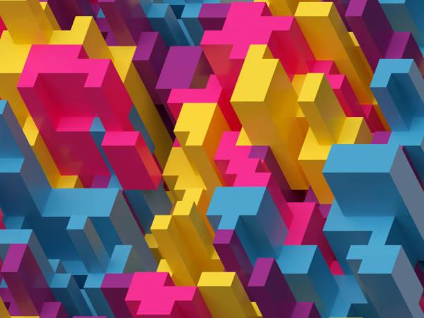 render 3D, Ilustración digital, fondo abstracto azul, colorido amarillo rosa, patrón de voxel - foto de stock
