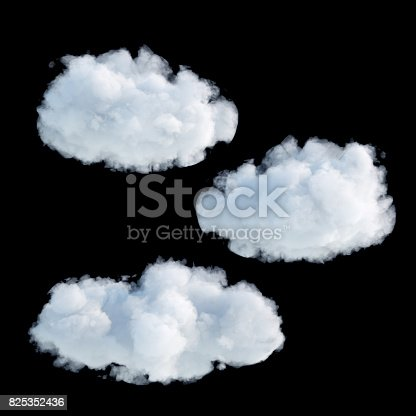 istock 3d render, digital illustration, realistic clouds isolated on black background 825352436