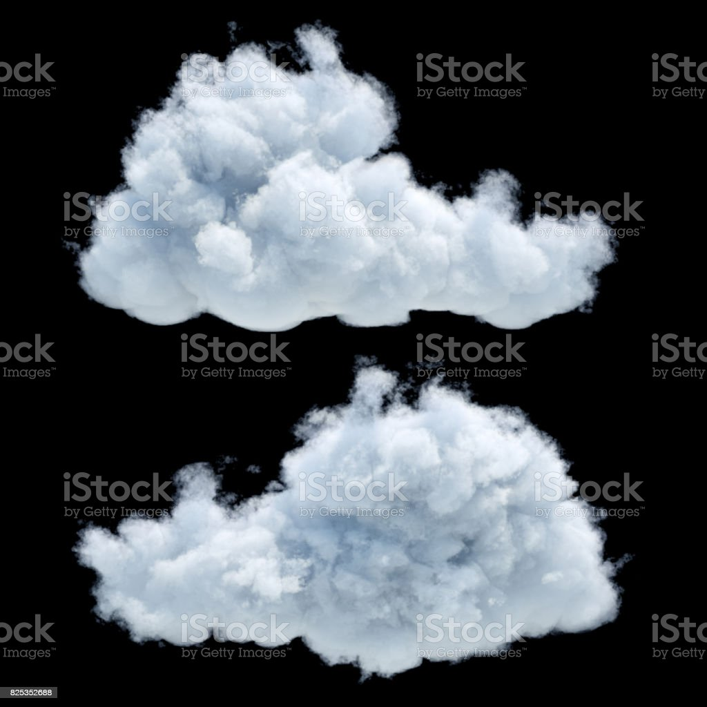 3d render, digital illustration, realistic clouds isolated on black background stock photo