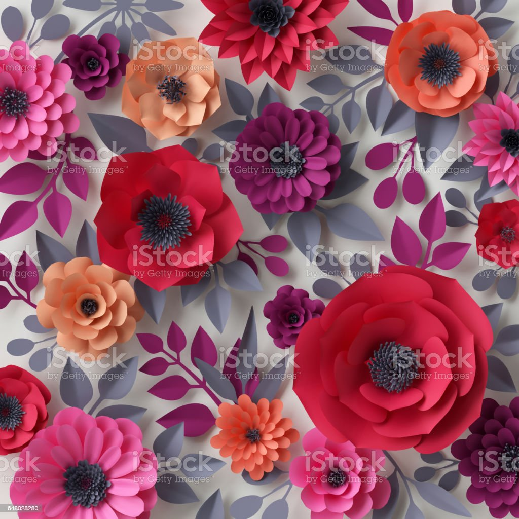 3d render, digital illustration, red pink paper flowers, bridal bouquet, wedding card, quilling, Valentine's day greeting card, garden, beautiful blooming wall royalty-free stock photo