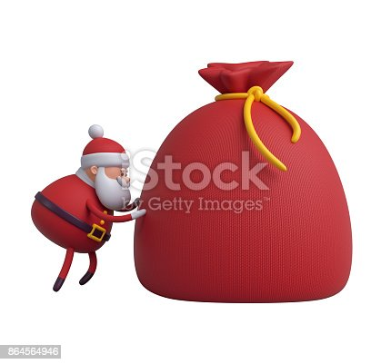 istock 3d render, digital illustration, Santa Claus cartoon character, gift boxes, bag, Christmas toy isolated on white background 864564946