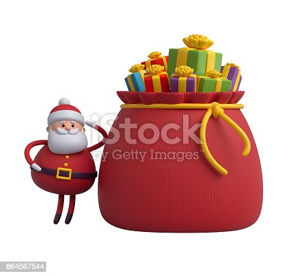 istock 3d render, digital illustration, Santa Claus cartoon character, gift boxes, bag, Christmas toy isolated on white background 864567544