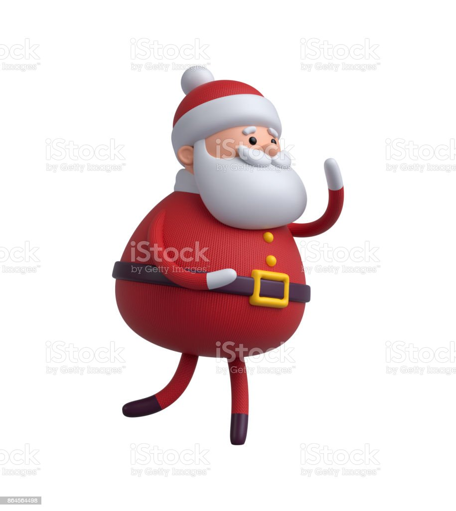 3d render, digital illustration, Santa Claus cartoon character, Christmas toy isolated on white background stock photo