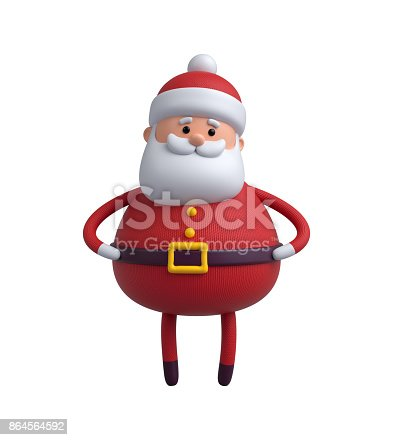 istock 3d render, digital illustration, Santa Claus cartoon character, Christmas toy isolated on white background 864564592