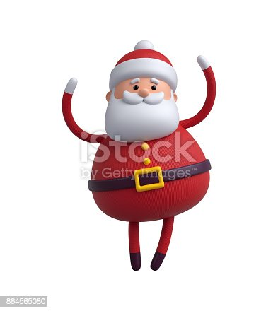 istock 3d render, digital illustration, Santa Claus cartoon character, Christmas toy isolated on white background 864565080