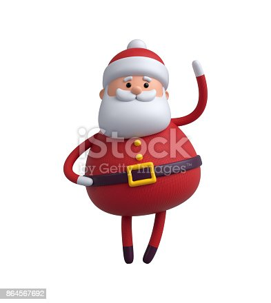 istock 3d render, digital illustration, Santa Claus cartoon character, Christmas toy isolated on white background 864567692