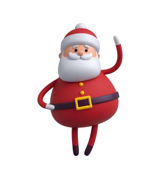 3d 渲染,數碼插畫,聖誕老人卡通人物,在白色背景上孤立的聖誕玩具 - 剪貼畫 個照片及圖片檔