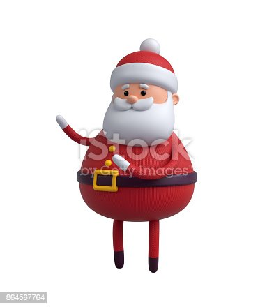 istock 3d render, digital illustration, Santa Claus cartoon character, Christmas toy isolated on white background 864567764