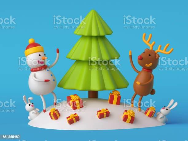 3d render digital illustration snowman and deer decorating fir tree picture id864565482?b=1&k=6&m=864565482&s=612x612&h=hx8tdbo8lgn7hht851ijb0fjo5dissrdgcklqhzcxb4=
