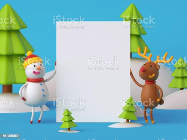 3d render digital illustration snowman and deer holding blank banner picture id864566534?b=1&k=6&m=864566534&s=612x612&h=ooe0p8n2ojivwumywqsd3jesdrztqgku19horvds4nm=