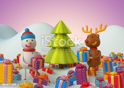Istock 3d Render Digital Illustration Snowman Winter Outdoor