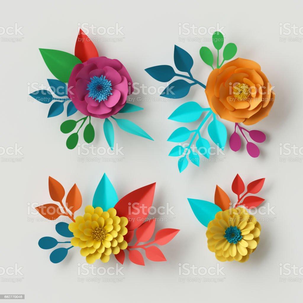 3d render, digital illustration, vivid paper flowers, decorative floral design elements, clip art set, festive decor, isolated on white background stock photo