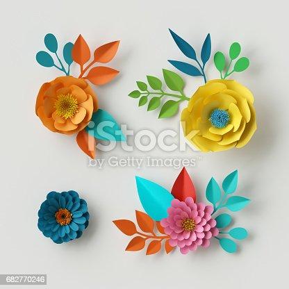 istock 3d render, digital illustration, vivid paper flowers, decorative floral design elements, clip art set, festive decor, isolated on white background 682770246