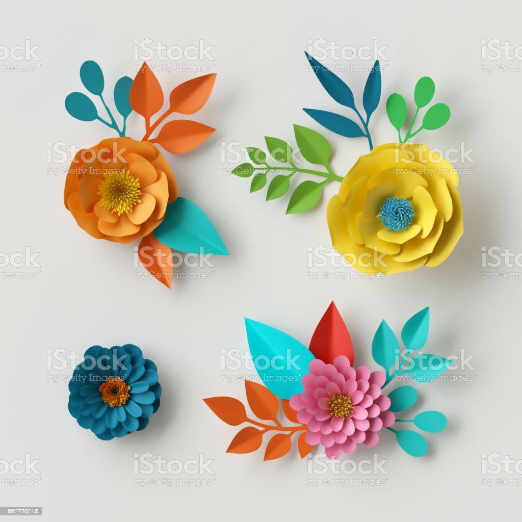 3D Render, digitale Illustration, lebendige Papierblumen, dekorative floral Design-Elemente, Clip-Art-Set, festliche Dekoration, isoliert auf weißem Hintergrund – Foto
