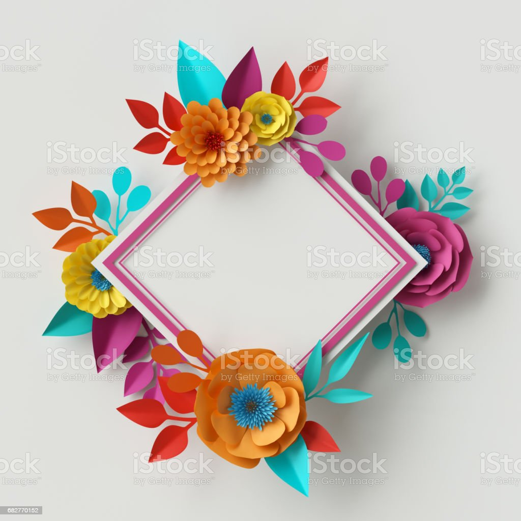 3d render, digital illustration, vivid paper flowers, rectangle floral frame, holiday card template, festive wreath, isolated on white background stock photo