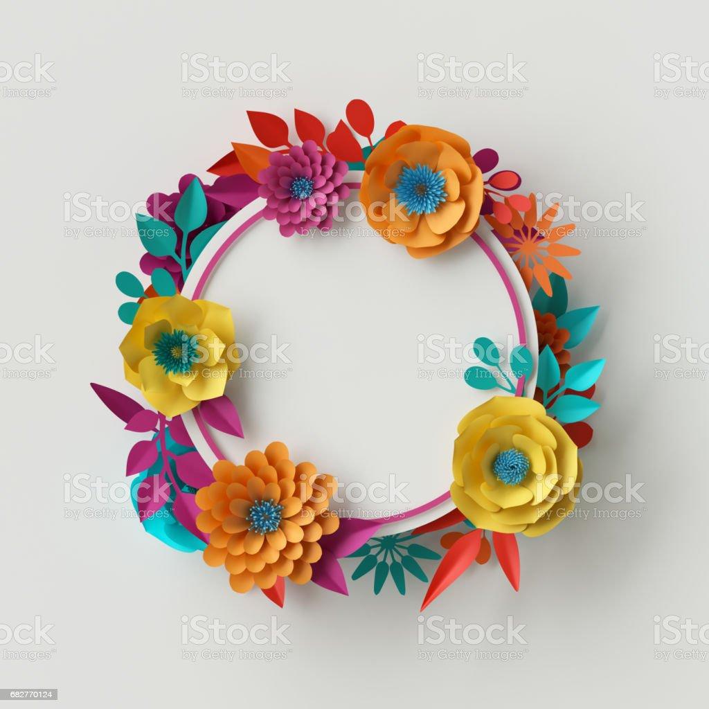 3D Rendern, digitale Illustration, lebendige Papierblumen, Blumenrahmen, Urlaub Kartenvorlage, festliche Kranz, isoliert auf weißem Hintergrund – Foto