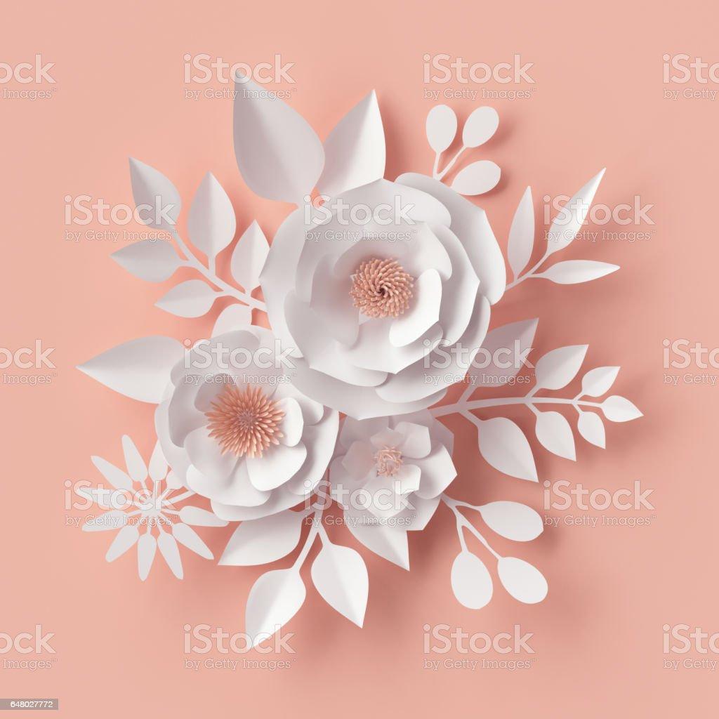 3d Render Digital Illustration White Paper Flowers Blush Pink Wall